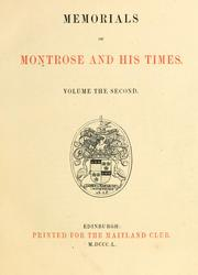 Cover of: Memorials of Montrose and his times | Maitland Club (Glasgow)
