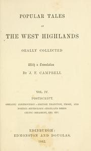 Cover of: Popular tales of the West Highlands | Campbell, J. F.