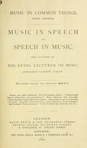 Cover of: Music in speech and speech in music | Colin Brown