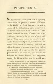 Cover of: Prospectus of the intended publication of Ossian's poems in the original Gaelic; with a verbal translation into Latin by Robert Macfarlan, A.M.