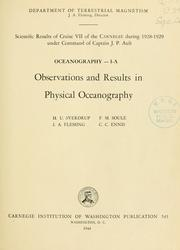 Cover of: Scientific results of cruise vii of the Carnegie during 1928-1929 under command of Captain J.P. Ault