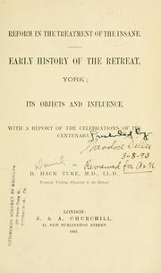 Cover of: Reform in the treatment of the insane