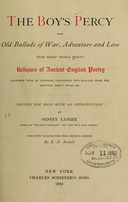 Cover of: The boy's Percy, being old ballads of war