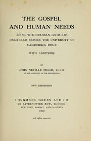 Cover of: The Gospel and human needs