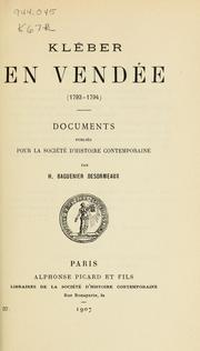 Cover of: Kléber en Vendée (1793-1794)
