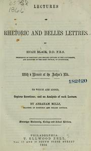Cover of: Lectures on rhetoric and belles lettres | Hugh Blair