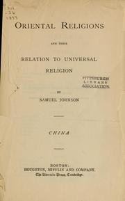 Cover of: Oriental religions and their relation to universal religion