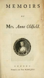 Cover of: Memoirs of Mrs. Anne Oldfield
