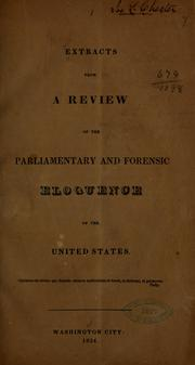 Cover of: Extracts from a review of the parliamentary and forensic eloquence of the United States ... |