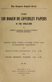 Cover of: The Sir Roger de Coverley papers in the Spectator