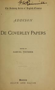 Cover of: De Coverley papaers