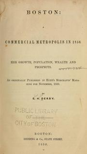 Cover of: Boston: a commercial metropolis in 1850