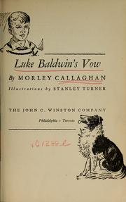 Cover of: Luke Baldwin's vow | Morley Callaghan