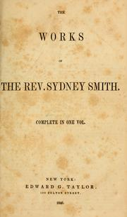 Cover of: The works of the Rev. Sydney Smith ...
