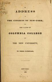 Cover of: An address to the citizens of New-York