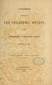 Cover of: Address before the Philodemic society