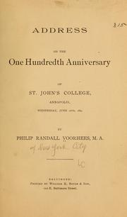 Cover of: Address on the one hundredth anniversary of St. John
