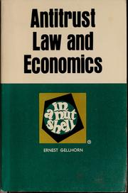 Cover of: Antitrust law and economics in a nutshell