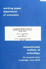 Cover of: A supergame-theoretic model of business cycles and price wars during booms | Julio Rotemberg
