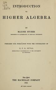 Cover of: Introduction to higher algebra