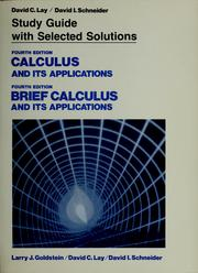 Cover of: Study guide with selected solutions