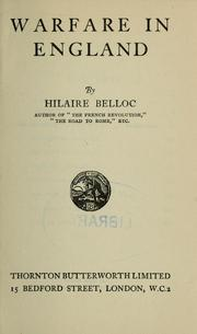 Cover of: Warfare in England | Hilaire Belloc