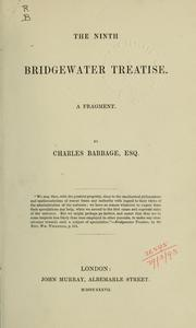 Cover of: The ninth Bridgewater treatise