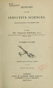 Cover of: History of the inductives sciences, from the earliest to the present times