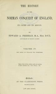 Cover of: The history of the Norman conquest of England, its causes and its results