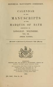 Cover of: Calendar of the manuscripts of the Marquis of Bath | Great Britain. Royal Commission on Historical Manuscripts
