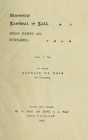 Cover of: Irish names and surnames