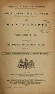Cover of: The manuscripts of the Earl Cowper, K.G. | Great Britain. Royal Commission on Historical Manuscripts