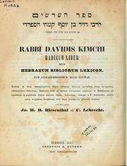 Cover of: [Sefer Ha shorashim] Radicum liber