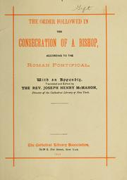 Cover of: Consecration of a bishop: with and appendix