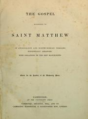 Cover of: The Gospel according to Saint Matthew in Anglo-Saxon and Northumbrian versions