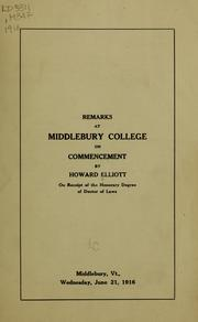 Cover of: Remarks at Middlebury College on commencement