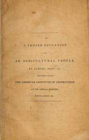 Cover of: On a proper education for an agricultural people