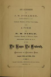 Cover of: An address by J. B. Foraker ...