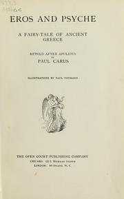 Cover of: Eros and Psyche | Paul Carus