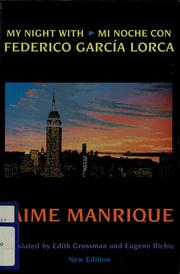 Cover of: My night with Federico García Lorca = by Jaime Manrique