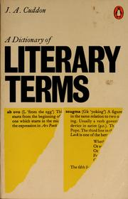 Cover of: A dictionary of literary terms | J. A. Cuddon