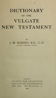 Cover of: Dictionary of the Vulgate New Testament