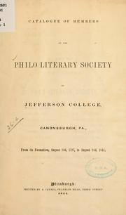 Cover of: Catalogue of members... | Jefferson College (Canonsburg, Pa.). Philo Literary Society