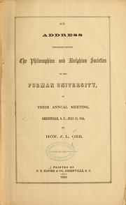 Cover of: An address delivered before the Philosophian and Adelphian societies of the Furman university