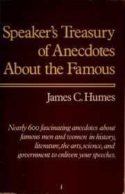 Cover of: Speaker's treasury of anecdotes about the famous