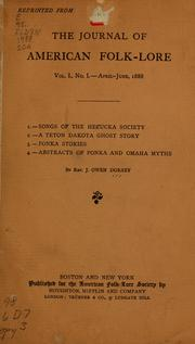 Cover of: ...1.--Songs of the Helcucka society; 2.--A Teton Dakota ghost story; 3.--Ponka stories; 4.--Abstracts of Ponka and Omaha myths