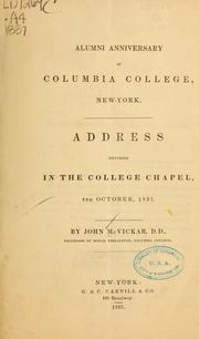 Cover of: Alumni anniversary of Columbia college, New York