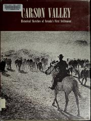 Cover of: Carson Valley; historical sketches of Nevada's first settlement