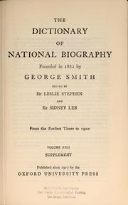 Cover of: Dictionary of national biography