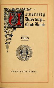 Cover of: Directory and club book of the University of Pennsylvania ... | Nitzsche, George Erasmus,